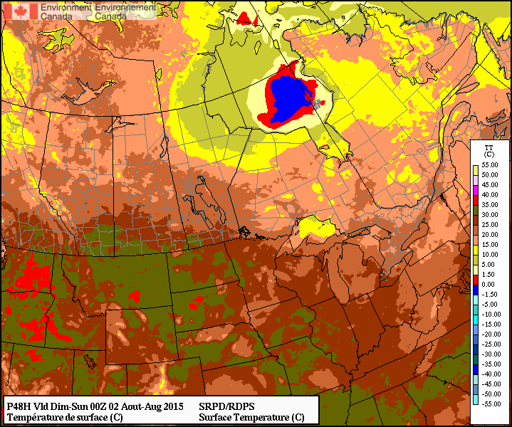 RDPS Forecast Temperature for 00Z Sunday August 02, 2015