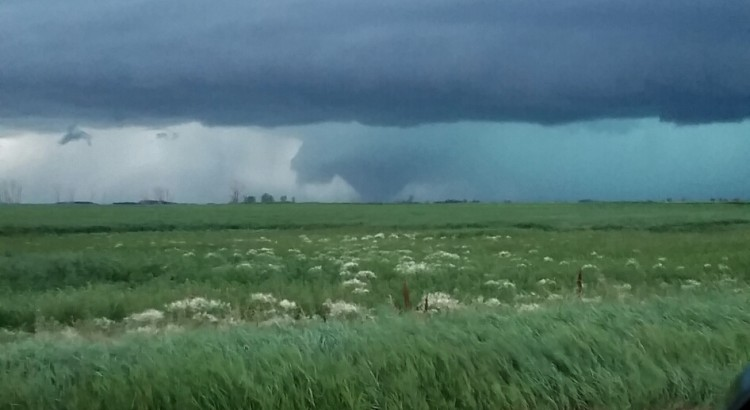 Violent wedge tornado near Tilston, Manitoba on July 27th, 2015 at approximately 8:49 pm local time.