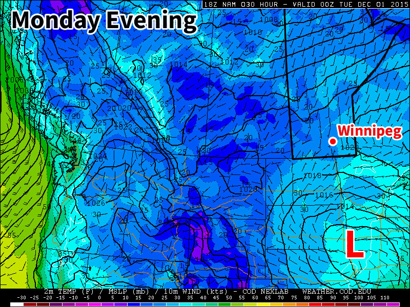 A low pressure system will sit just south of Manitoba early in the week