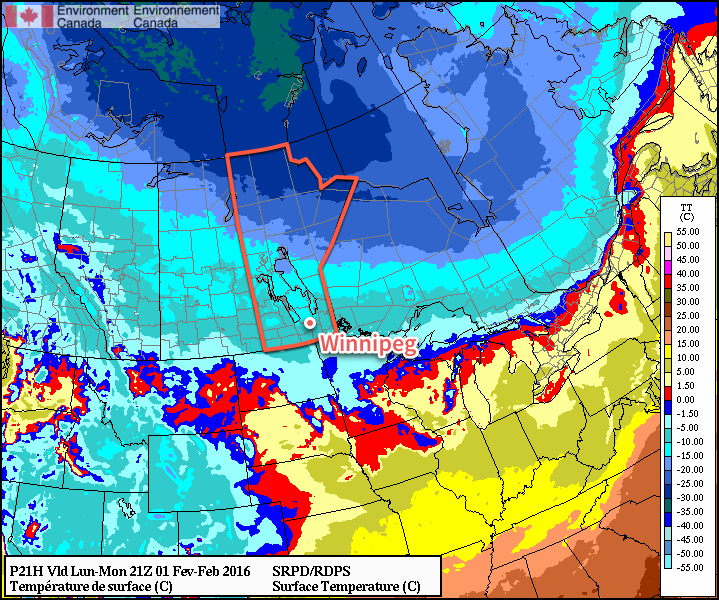 RDPS Temperature Forecast valid Monday afternoon
