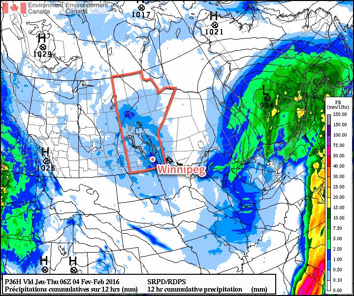 RDPS-based precipitation forecast valid from 18Z - 06Z February 3/4, 2016