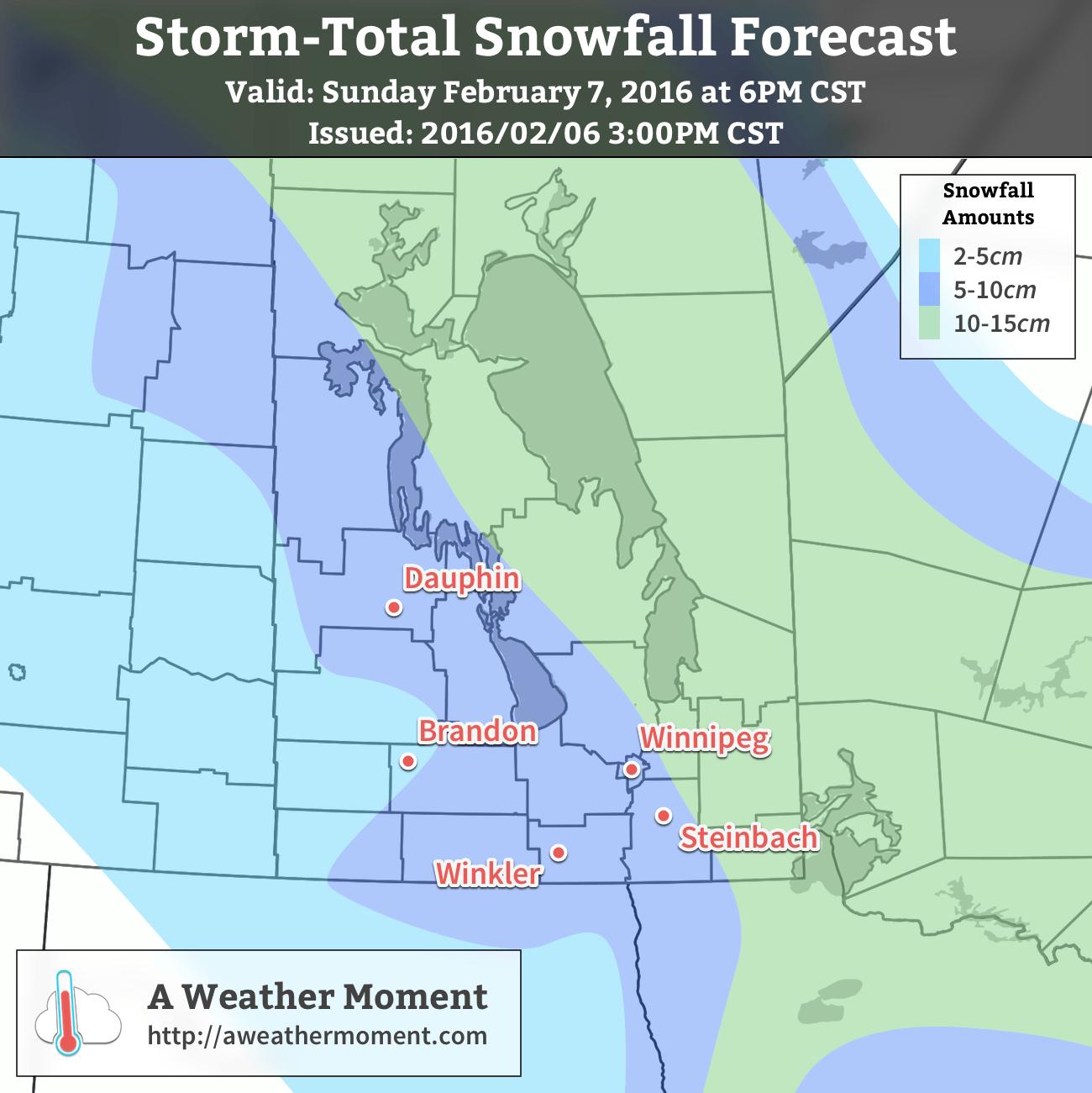 AWM Snowfall Forecast for February 6/7, 2016