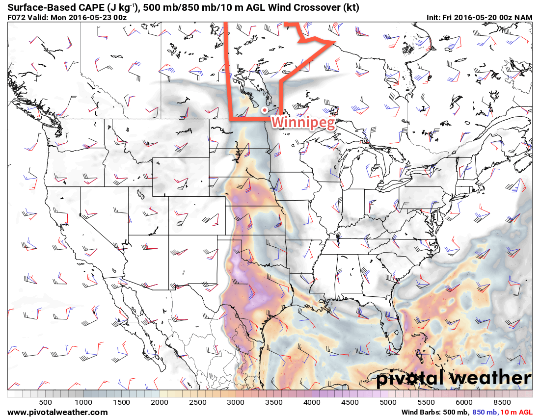 NAM SBCAPE, SFC/850/500 X-Over valid 00Z Monday May 23, 2016
