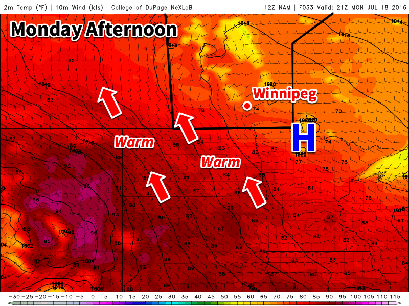 Today is expected to be nice as a surface high to our east brings a light southeasterly flow to southern Manitoba.