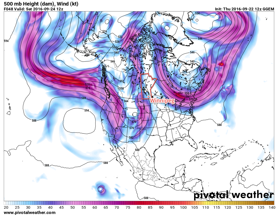 A deep upper-level trough is developing over western North America, and is forecast to extend from the northern tip of Yukon Territory all the way to the southern New Mexico border by Saturday morning.