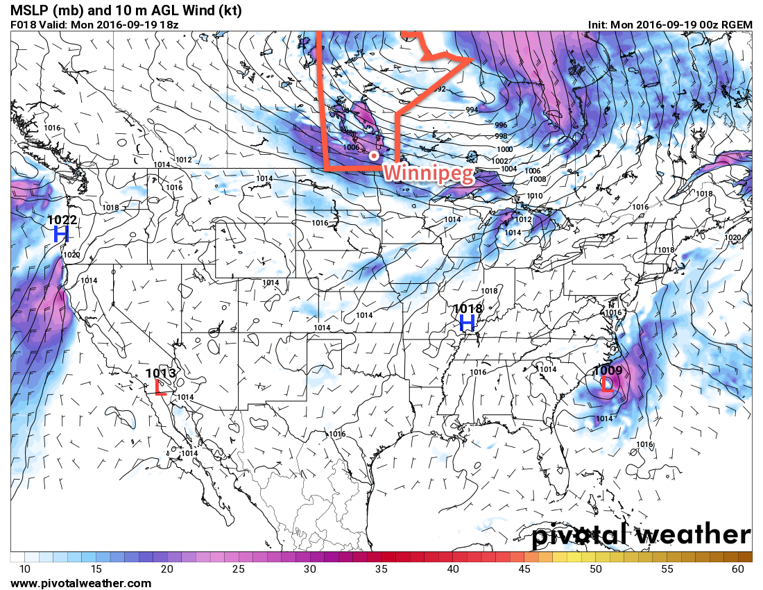 Strong westerly winds (shown by purples and pinks) will develop over southern Manitoba today.