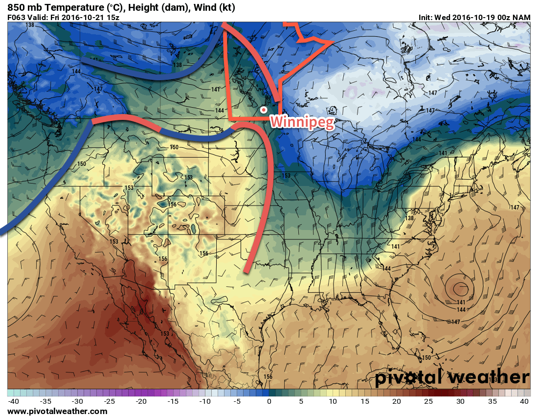 A warm front will push eastwards across the Red River Valley on Friday.