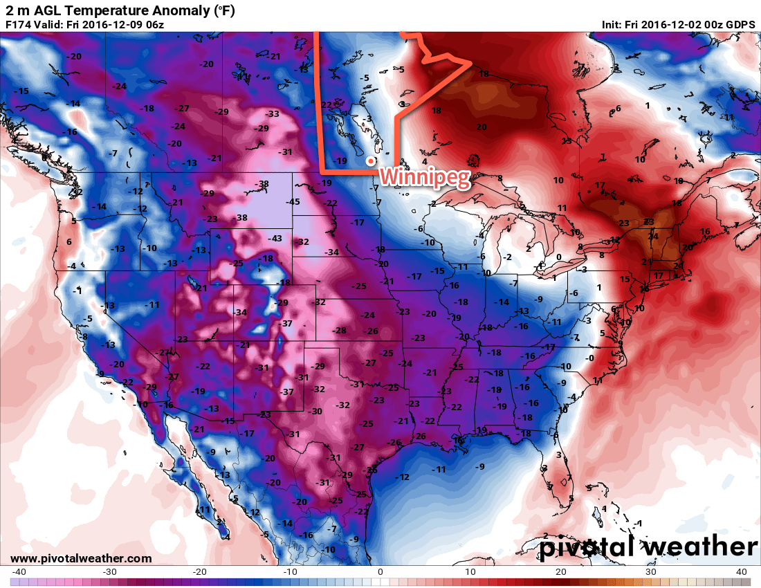 The GDPS is forecasting a substantial outbreak of Arctic air next week.