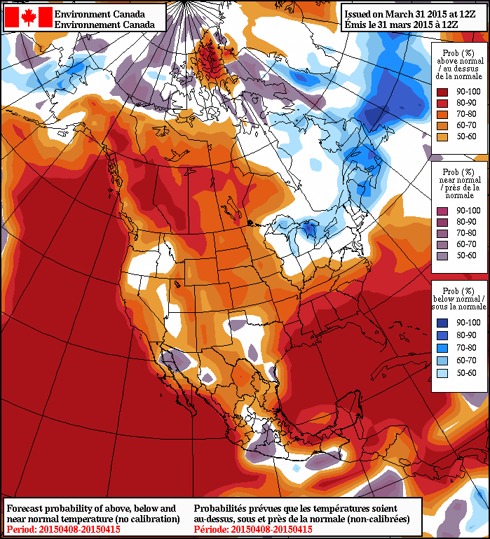 NAEFS 8-14 Day Temperature Anomaly Outlook (issued 12Z March 31, 2015)