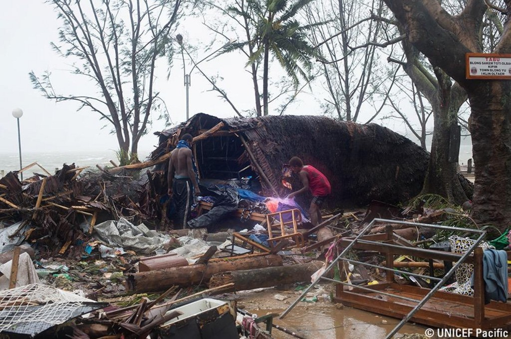 Damage seen on Friday evening (our time) as Pam was on its way out. (Source: UNICEF Pacific)