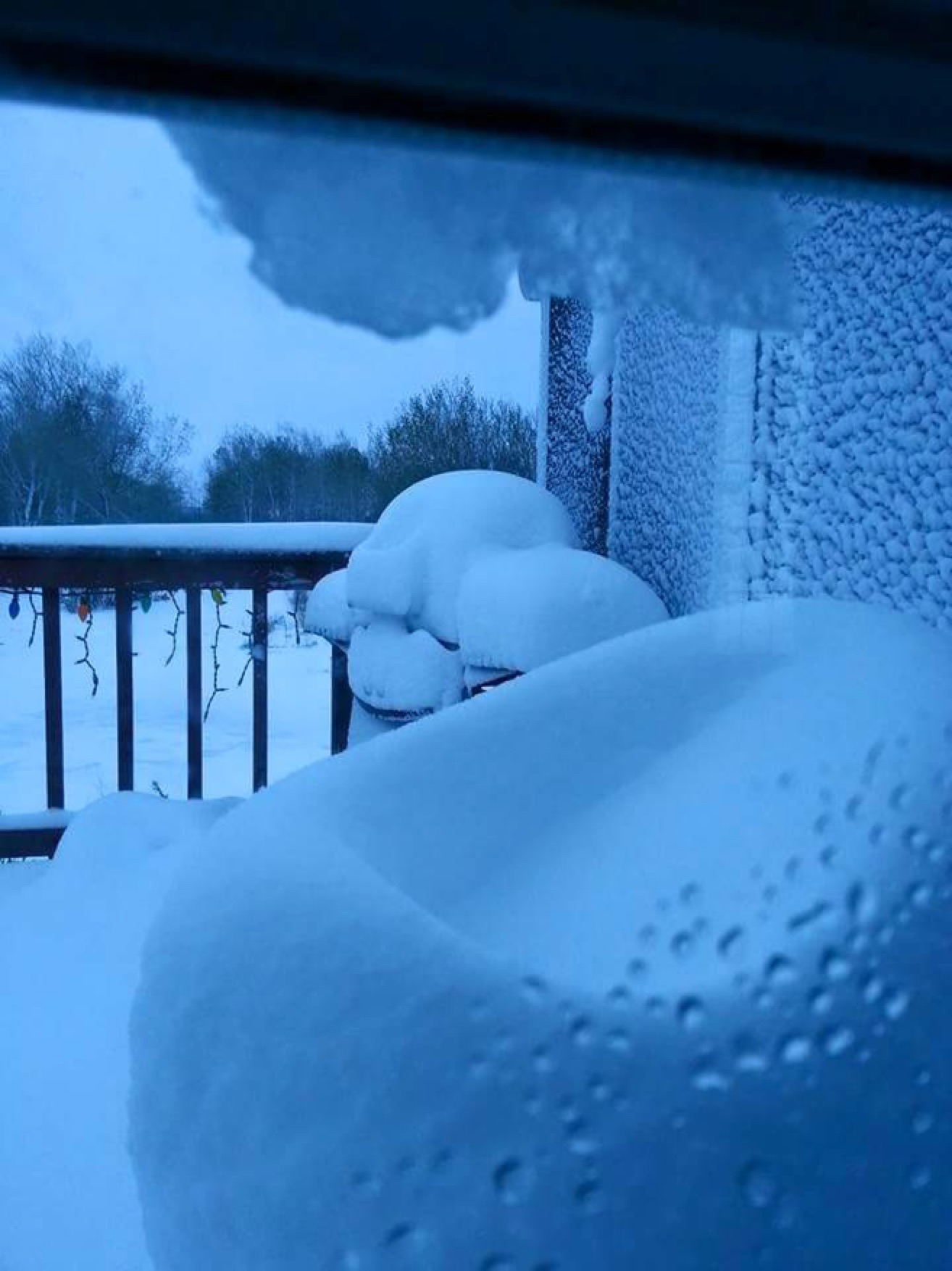 Substantial snow accumulation near Teulon, MB.