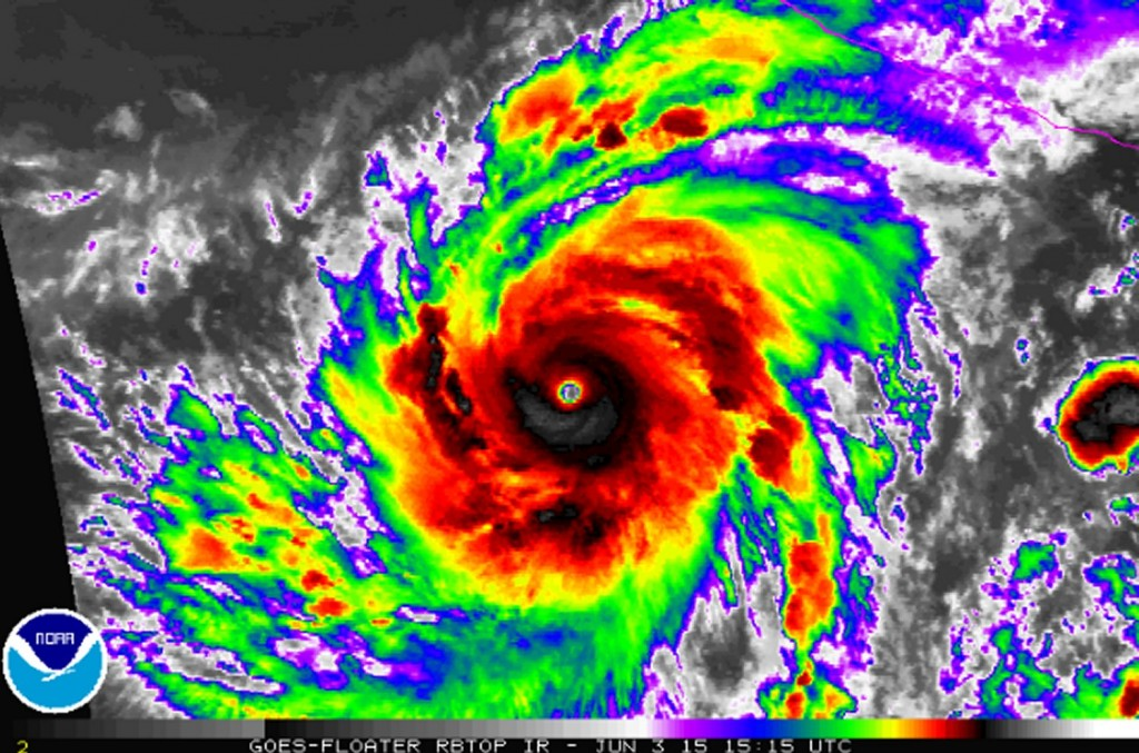 Hurricane Blanca with a well defined eye on June 3rd.  (Source: NOAA)
