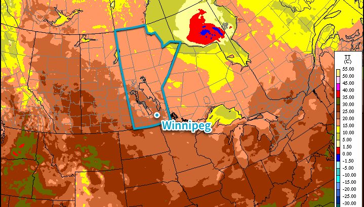 RDPS Surface Temperature Forecast – 00Z Tuesday July 21, 2015
