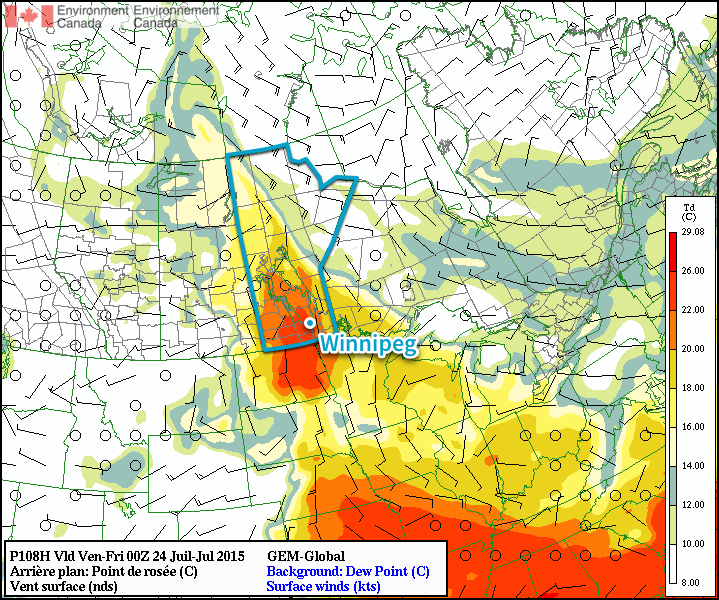 GDPS Surface Dew Point Forecast – 00Z Friday July 24, 2015