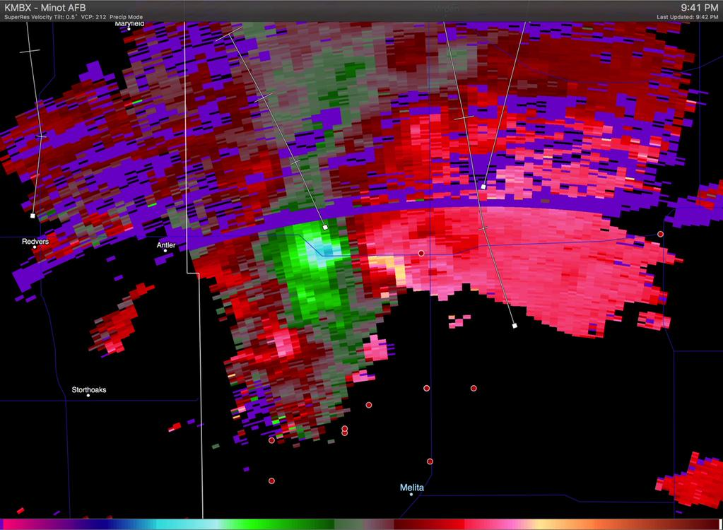 Doppler Velocities from the Minot AFB NEXRAD Site at 9:41PM CDT