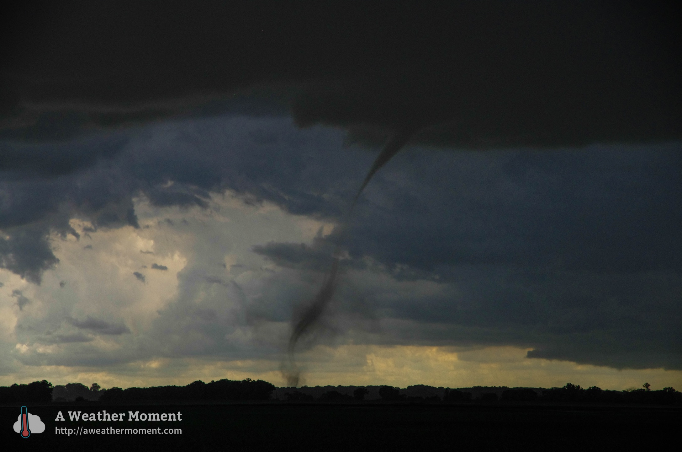 One of the rope tornadoes in ND observed near Pisek. (Source: Matt D)