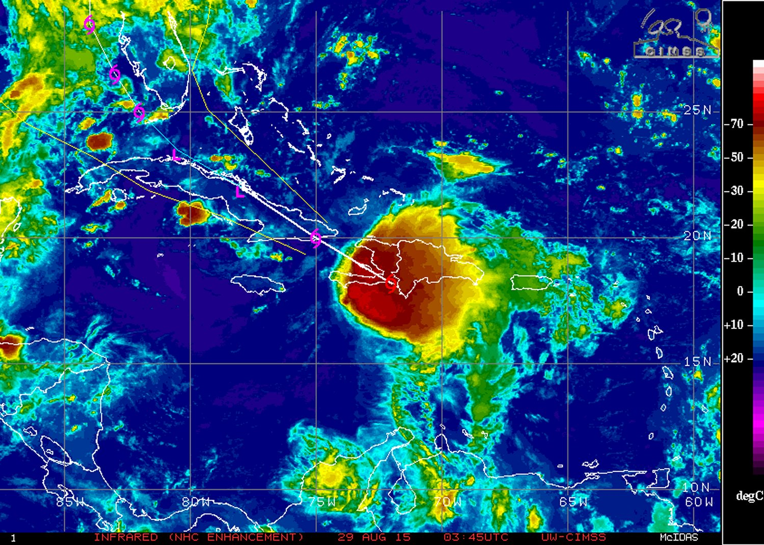 IR satellite image of Erika on Friday night. Erika looks rather disorganized due to relatively strong shear present, but could still bring heavy rainfall to some Caribbean Islands. (Source: NHC)