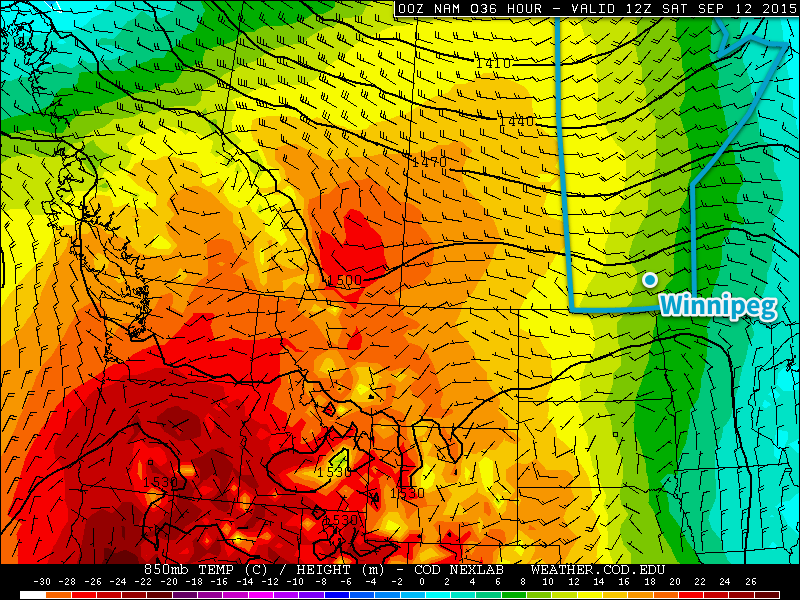 Forecast 850mb Temperatures valid Saturday Morning from the NAM