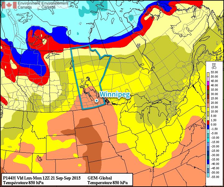 GPDS Forecast 850mb Temperatures valid 12Z Monday September 21, 2015