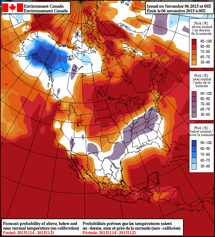 NAEFS 8-14 Day Temperature Anomaly Forecast issued 00Z November 6, 2015