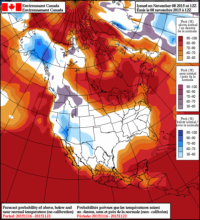 NAEFS 8-14 Day Temperature Anomaly Forecast issued 12Z November 8, 2015