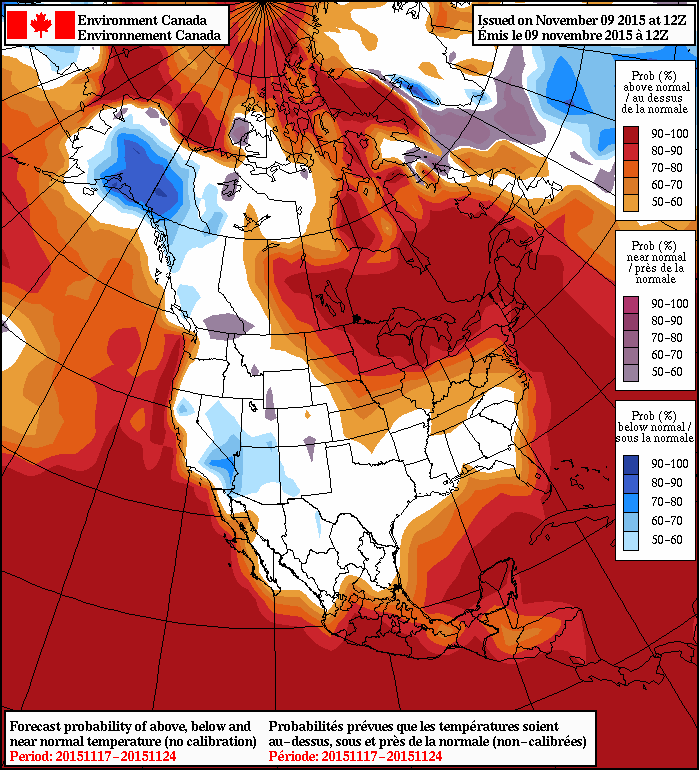 NAEFS 8-14 Day Temperature Anomaly Outlook valid November 17 to November 24, issued 12Z November 9, 2015
