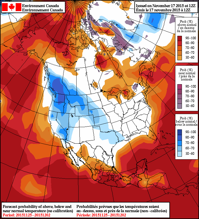 NAEFS 8-14 Day Temperature Anomaly Outlook valid for November 25 to December 2, issued 12Z November 17, 2015