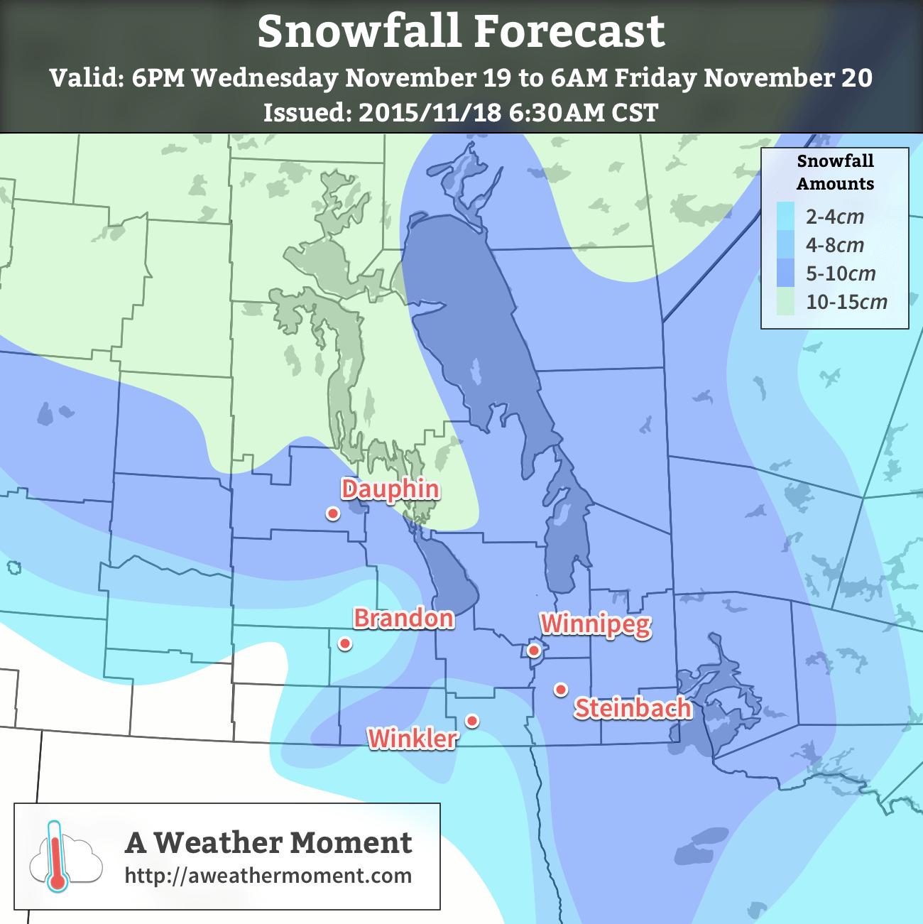 AWM Snowfall Forecast issued November 18, 2015