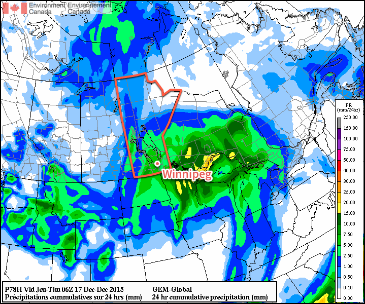 GDPS 24hr QPF valid 06Z December 17, 2015