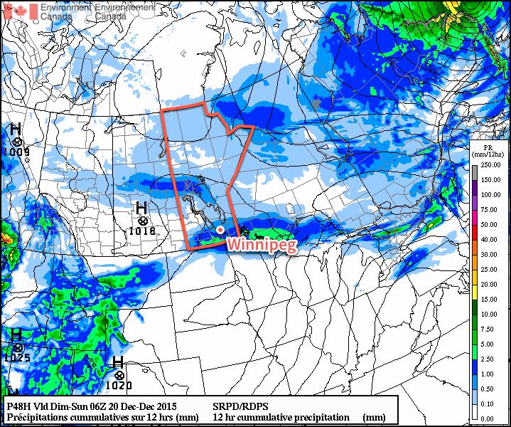 RDPS Precipitation Forecast valid 18-06Z December 19/20, 2015