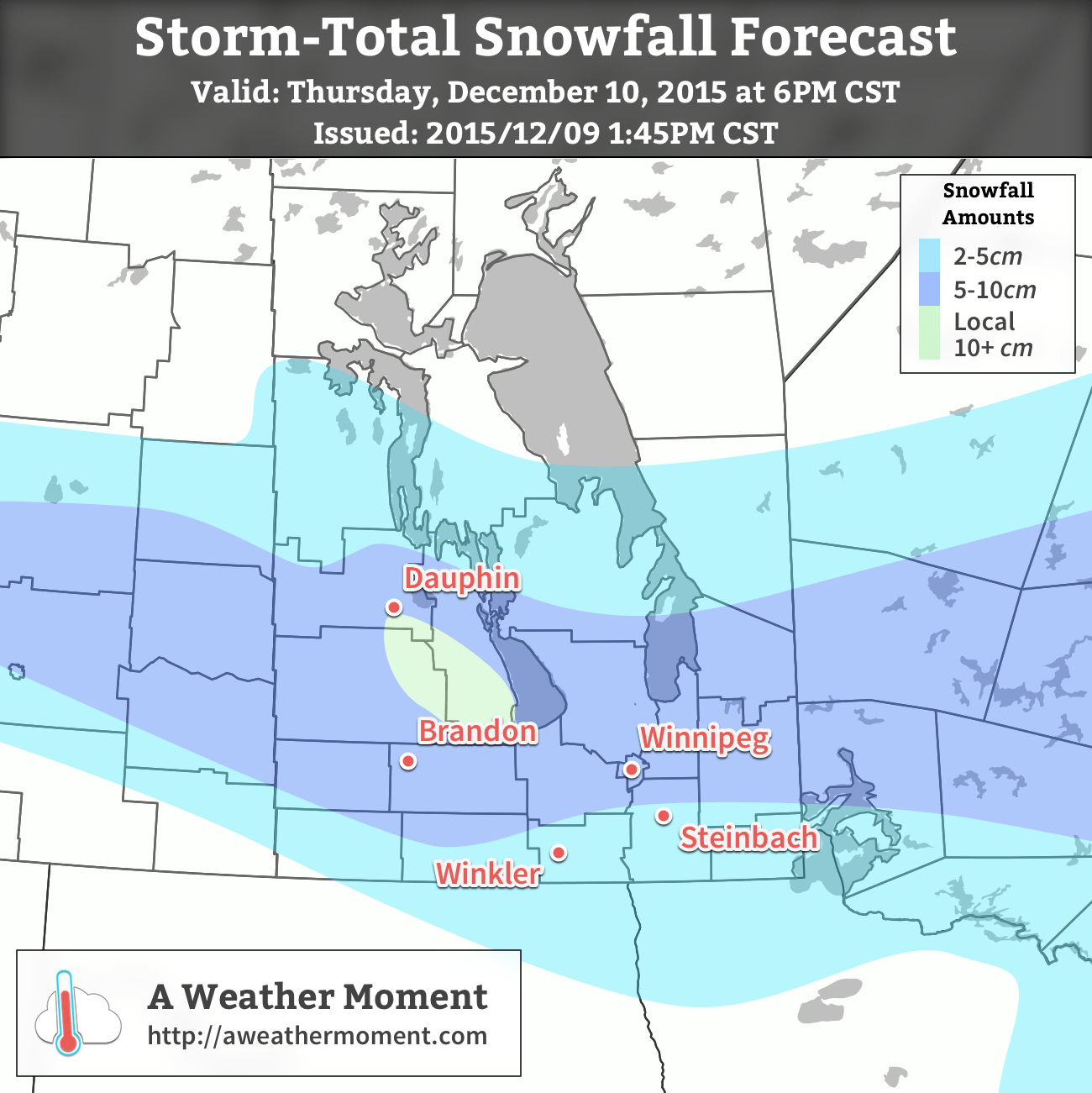 AWM Storm-Total Snowfall Forecast valid December 10, 2015