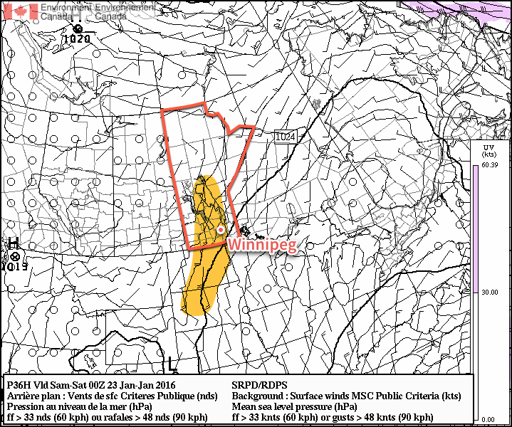 Strong winds are expected by Friday evening through Southern Manitoba and the Northern Plains
