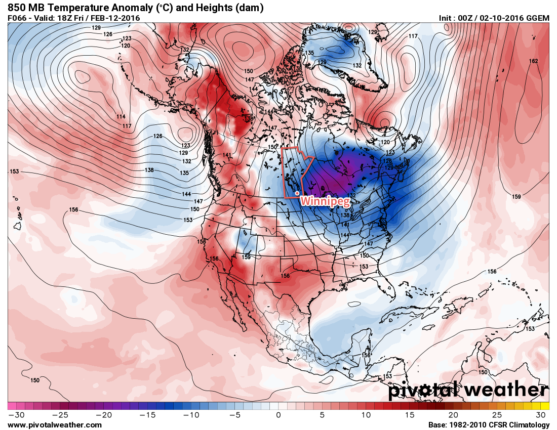 GDPS 850mb Temperature Anomaly valid 18Z Friday February 12, 2016