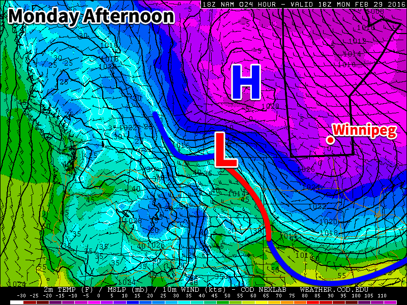 An arctic high pressure system will dominate our weather early this week