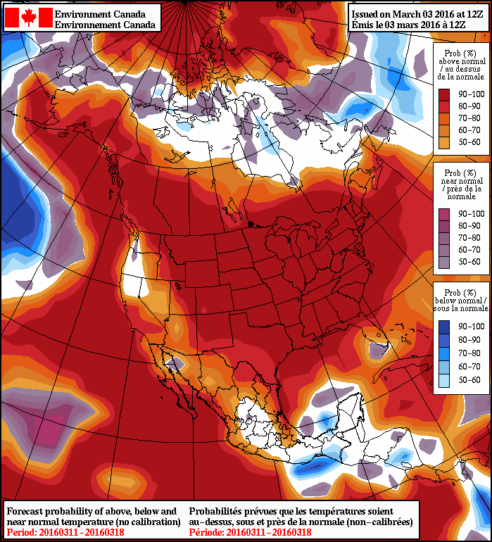 NAEFS 8-14 Day Temperature Anomaly Forecast —Valid March 11-18, 2016