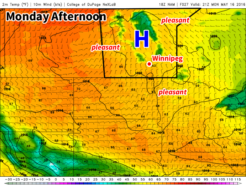 A surface high over Manitoba will bring sunny skies and mild temperatures