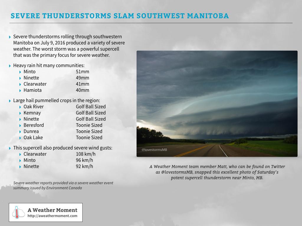 A summary of the severe weather over southwestern Saskatchewan on July 9, 2016