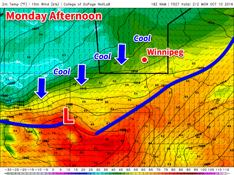 Cool air will continue to push down from the north today