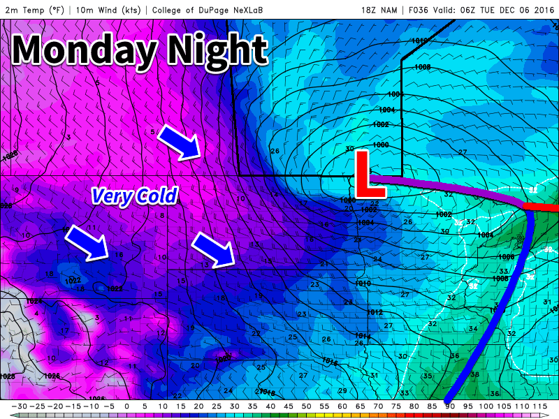 A strong low pressure system will bring heavy snow and strong winds to southern Manitoba early this week