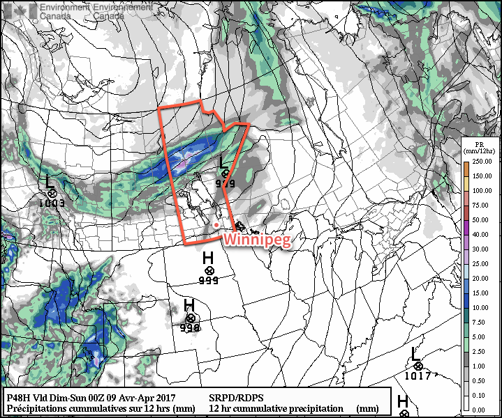 While a slight chance of showers exists over the Red River Valley on Saturday, by a vast majority of the precipitation associated with the system will fall across northern Manitoba.