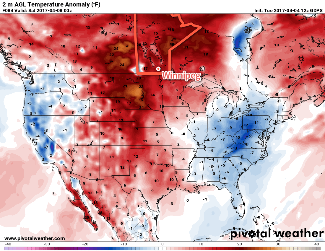 Temperatures will climb well above normal across much of the eastern Prairies on Friday.
